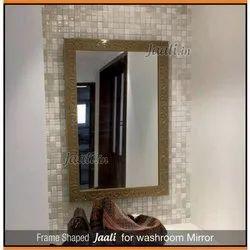 Rectangular Brown Washroom Mirror Frame Jali