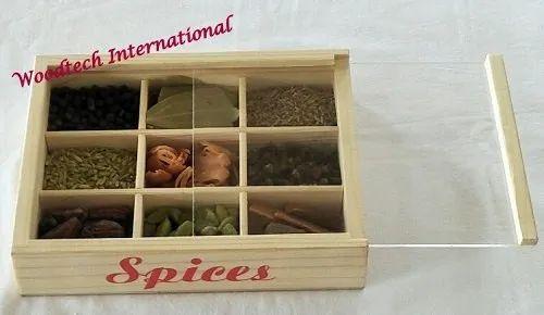 Wooden Spice Box With 9 Compartments