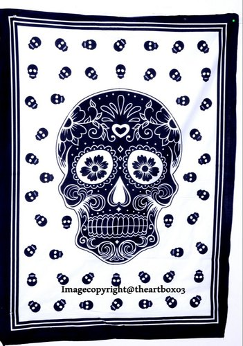 White Color Dead Skull Wall Hanging Handmade Small Tapestry Poster Cotton Fabric