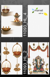 Marvelano Gloss 10x15 inch Pooja Room Designer Wall Tiles