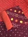 Unstitched Cotton Bandhani Dress Material
