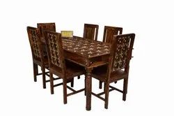 Honey Oak Sheesham DHI Solid Wood LT Dining Table ( 6 Persons) DN7
