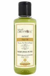 KHADI ORGANIQUE Herbal Neem Teatree and Basil Hair Oil, For Hair Massage, Damage Repair