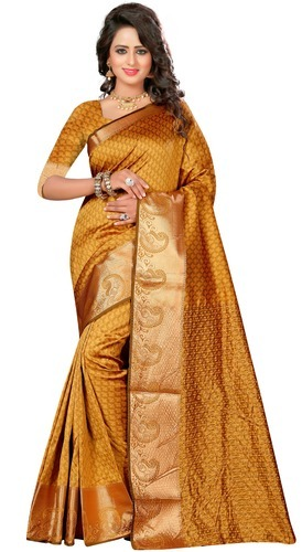 46b835d0c9b22 Party Wear Golden Color South Cotton Silk Saree For Women