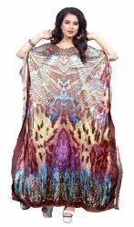 Multi Color Satin Silk Long Ankle Length Kaftan For Women