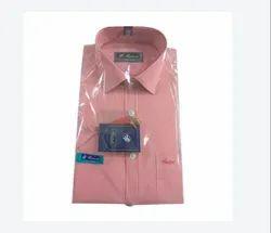 Formal Wear Mens Coral Striped Cotton Shirt