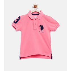 Pink Cotton Kids Collar T Shirt