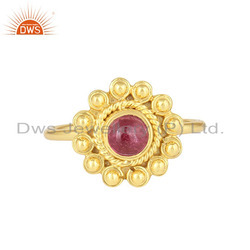 Pink Tourmaline Gemstone Flower Design Gold Plated Silver Rings Supplier