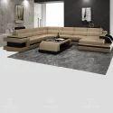 U Shape U Shaped Cream Leather Sofa