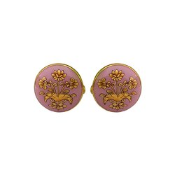 Exotic Mughal Gold Motif On Pink Enamel 92.5 Sterling Silver Cufflinks