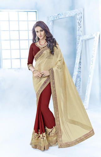 461bbb3c84 Beige & Red Silk Georgette Plain Party Wear Saree, Rs 1335 /piece ...