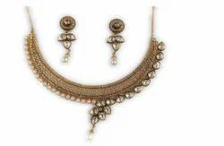 Wadke jewellers Gold Plated Kundan Necklace Set For Woman