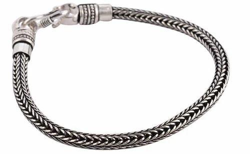 f39c0ee7a16a5 Geema Fashion Zigzag Silver Metal Bracelet For Men (8 Inch)