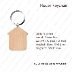 Wooden Keychain-KC-06-House KeyChain