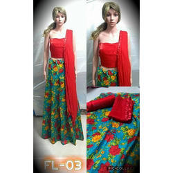 Ladies Cotton and Georgette Red Printed Dress