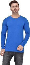 Royal Blue Cotton Full Sleeves Plain T Shirt
