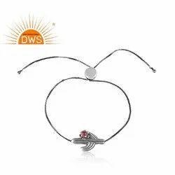 Cactus Designer Oxidized 925 Silver Pink Tourmaline Adjustable Bracelet