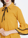 100% Rayon Woven Frill Sleeve Mustard Yellow Top