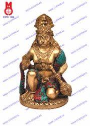 Hanuman B/Hand Rd.Base W/Stone Work Statue