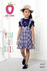 Girl Classic Blue Checks Dungaree Style 2 Piece Frock