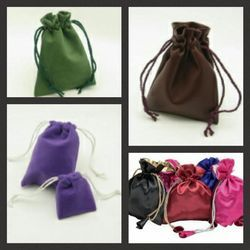 Suede & Velvet. Drawstring Jewelry Pouch