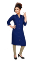 Formal Wear Straight Formal Rayon Kurti, Features: Collar Neck, Machine Wash