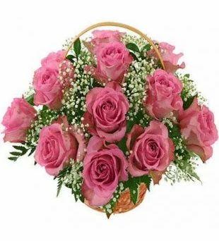 12 pink roses basket flower basket ms india gifts hub new delhi 12 pink roses basket mightylinksfo