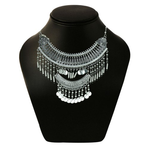 aafb5c2e18d97 ChicKraft Classy Queen Silver & Black Choker Necklace