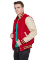 Jb Cardinal Wool Body With Cream Varsity Jacket - Men