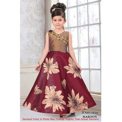 Printed Kids Casual Wear Gown, Size: M