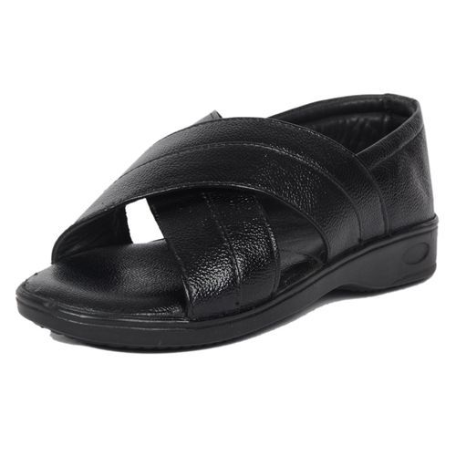 8b89fa289b29 Black Designer Leather Sandal