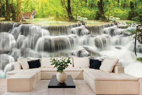 Multi Color Non Woven And Vinyl 3D Waterfall In A Forest Scenic Wallpaper