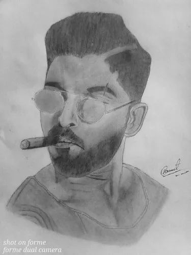 Black And White Sketch Of Allu Arjun Size A4 Rs 1000 Piece Sketch Arts Id 22309903488