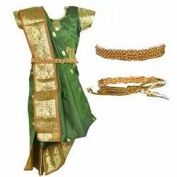 Amirtha Party Wear Girls Designer Cotton Silk Half Saree, With blouse piece