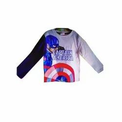 Printed Boys Full Sleeves Cotton T-Shirts, Size: 3-7 Years
