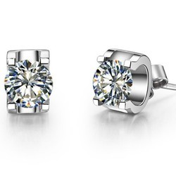 Sheetal Impex 1.40tcw Si/fg Color  Real Natural Diamonds Stud 18kt White Gold Solitaire Stud Earring