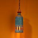 ExclusiveLane 'The Light Carrier' Terracotta Pendant Cum Hanging Lamp In Azure Blue
