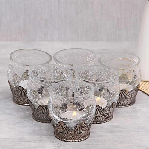 Transparent Glass And Metal Candle Votive Rs 300 Set White Metal Crafts Id 19419850255