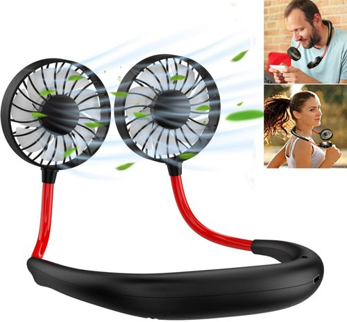 Lazy Portable USB Rechargeable Hand Free Neck Hanging Dual Cooling Mini Fan Fast