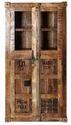 Glasses Doors Mango Wooden Almirah, Container style