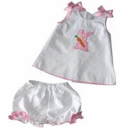 White, Pink Girl New Born Baby Dress Set