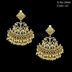 Antique Gold Kundan Pearl Chandelier Earring