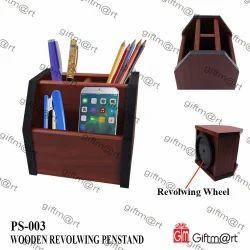 Giftmart Brown Wooden Revolving Pen Stand for Office
