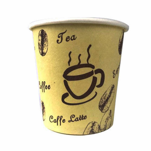 Paper Yellow Printed Disposable Cup, Packet Size (pieces): 40
