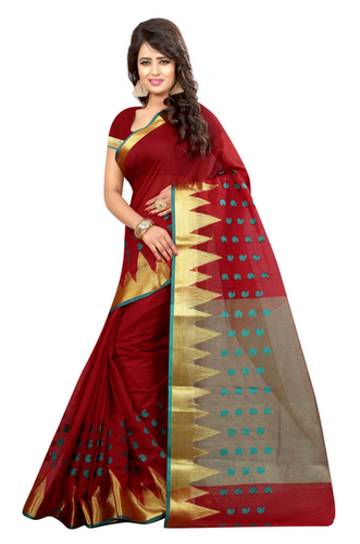 2c826f5444f Red Printed Art Silk Saree With Blouse(GU-TEMPLEKERYRED-539)