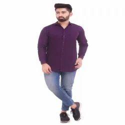 Solid Color Purple Men''s Cotton Shirt