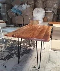 Industrial Rustic Style Dining Table With Hairpin Legs Live Edge Acacia Solid Natural Wood