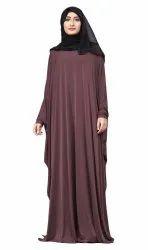 Plain Arabic Lycra Abaya With Chiffon Hijab Scarf for Women