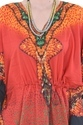 Orange Cotton Printed Ladies Kaftan