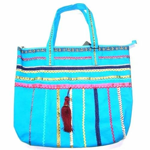 Embroidered Ladies Sky Blue Cotton Hand Bags
